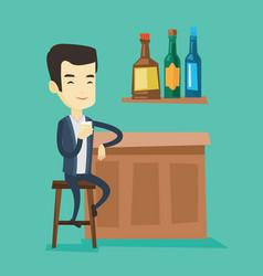 smiling man sitting at the bar counter vector image