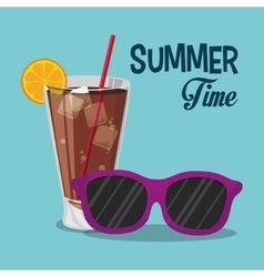 summer time sunglasses cold soda with straw vector image