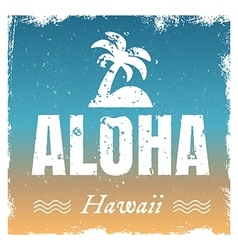aloha with hot beach colors retro vector image
