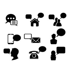 black chat icons set vector image vector image