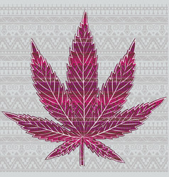 cannabis leaf with patterns vector image