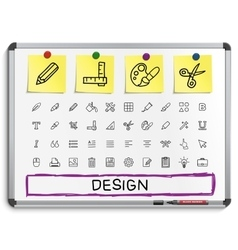 Design tools hand drawing line icons vector image vector image