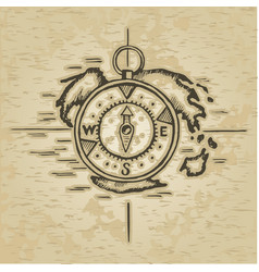 doodle style compass vector image vector image