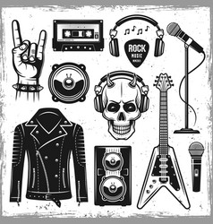 hard rock and metal music attributes elements vector image