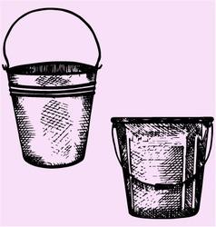 plastic bucket metal bucket handle vector image