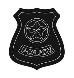 police badge icon in black style isolated on white vector image vector image