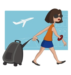 travel girl at the airport vector image vector image