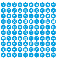100 compass icons set blue vector