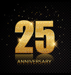 25 anniversary golden numbers isolated on black vector image