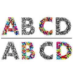 Alphabet letters A B c and D vector image