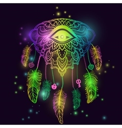 American Indian talisman dreamcatcher with eye vector image