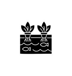 Aquaponics black glyph icon vector
