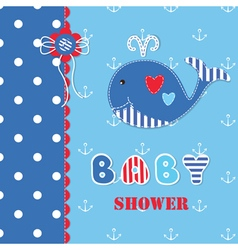 Baby shower with cute whale 3 vector