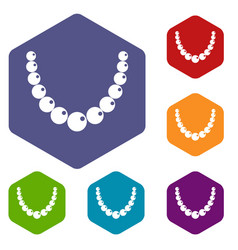 Bead icons set hexagon vector