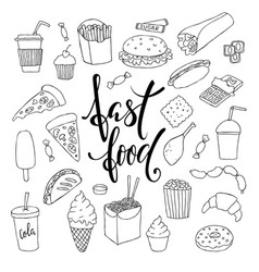 Big set of hand drawn doodle fast food with vector