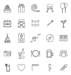 Birthday line icons on white backgound vector image