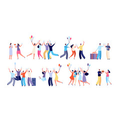 birthday party people celebration characters vector image