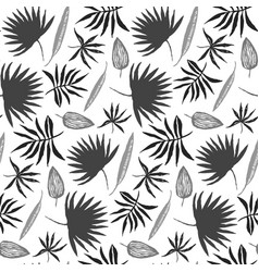 black and white hand drawn ink leaves pattern vector image