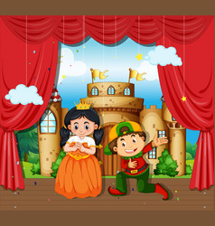 Boy and girl perform drama on stage vector