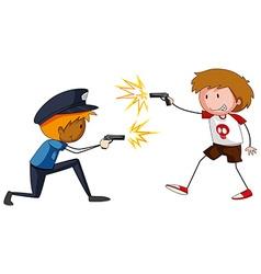 Boy and policeman shooting firegun vector