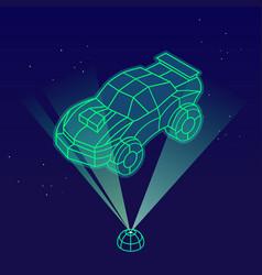 Car wireframe hologram vector