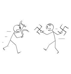 Cartoon fight or battle between nazism vector