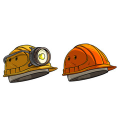 Cartoon miner protective helmet with flashlight vector