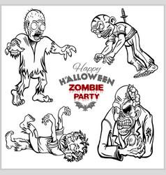 cartoon zombie set isolated on white vector image
