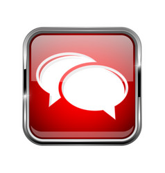 Chat icon square red 3d icon with chrome frame vector