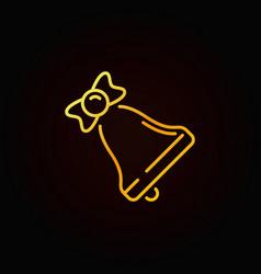 christmas bell yellow line icon on dark vector image