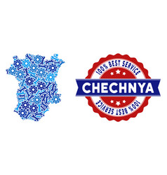 Collage chechnya map of service tools vector
