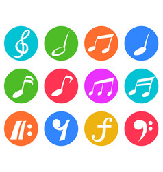 Colorful freehead music note icon buttons set vector