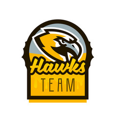 Colorful logo sticker emblem of a hawk flying vector