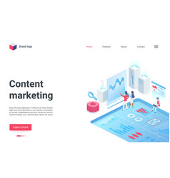 content digital marketing research isometric vector image