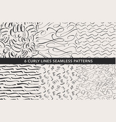 curly lines hand drawn seamless patterns set vector image