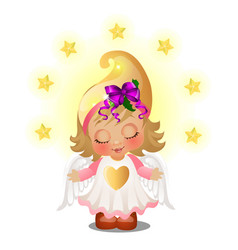 Cute animated girl with angel wings smiling vector