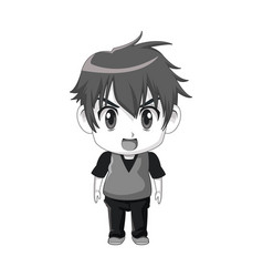 Cute little boy anime facial expression image vector