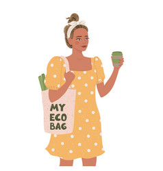 cute young girl with eco bag and vector image