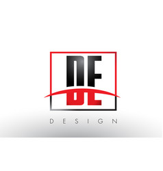 De d e logo letters with red and black colors and vector