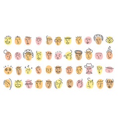 Different people face single line set vector