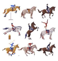 equestrian sports set people riding horses vector image
