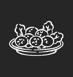 falafel chalk white icon on black background vector image
