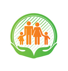 Family care center logo design hands holding kids vector