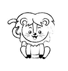 Figure cute lion wild animal with face expression vector