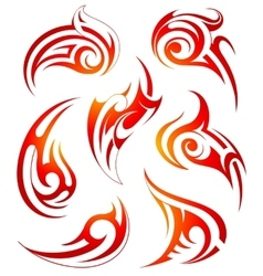Fire flames design set vector image