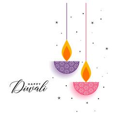 Flat diwali background with decorative diya design vector