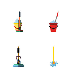 flat icon mop set of broom bucket broomstick and vector image