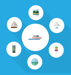 flat icon season set of boat yacht moisturizer vector image