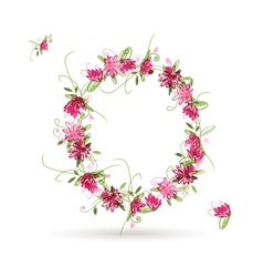 Floral letter O for your design vector image