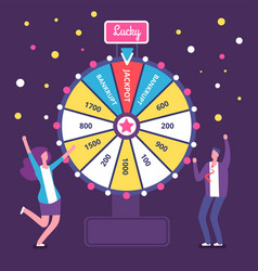 fortune wheel with people man and woman spinning vector image